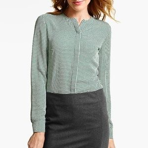 Talbots Houndstooth Patterned Blouse